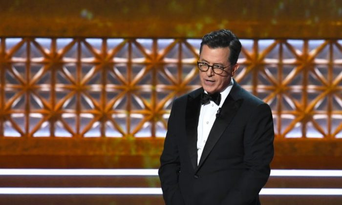 Host Stephen Colbert during the 69th Annual Primetime Emmy Awards at Microsoft Theater on Sept. 17, 2017, in Los Angeles.  (Kevin Winter/Getty Images)