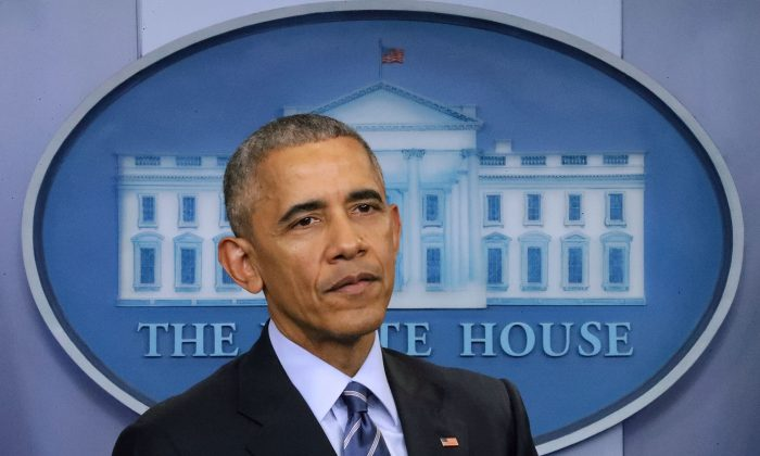 Former U.S. President Barack Obama speaks during a news conference  at the White House  in Washington on Dec. 16, 2016. (Chip Somodevilla/Getty Images)