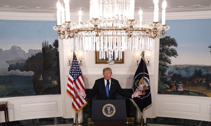 President Donald Trump speaks about Iran and the Iran nuclear deal in the Diplomatic Room of the White House in Washington on Oct. 13, 2017. (REUTERS/Kevin Lamarque)