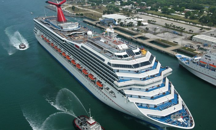 The Carnival Glory arrives in Cape Canaveral, Fla., on July 11, 2003. An 8-year-old girl died on Oct. 14, 2017, after falling to her death from a deck overlooking the ship's atrium. (Andy Newman/Carnival Cruise Lines/HO)