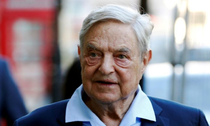Business magnate George Soros arrives to speak at the Open Russia Club in London on June 20, 2016. (Reuters/Luke MacGregor/File Photo)
