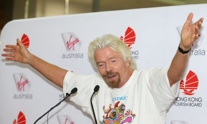 Sir Richard Branson speaks as he launches Virgin Australia's inaugural Melbourne to Hong flights on July 5, 2017 in Melbourne, Australia. (Scott Barbour/Getty Images)