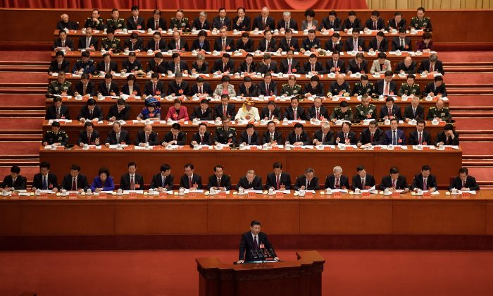 Chinese leader Xi Jinping delivers a speech during the opening