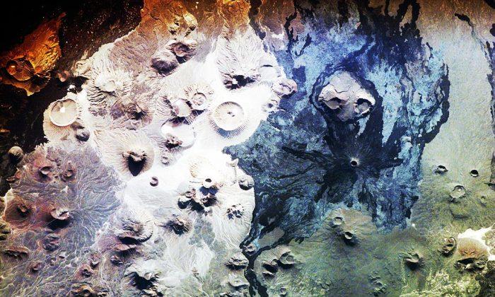 "Harrat Khaybar lava field in Saudi Arabia. Credit: (""Harrat Khaybar Space"" by Expedition 16 Crew Member on the International Space Station, NASA/Wikimedia [Public Domain])"