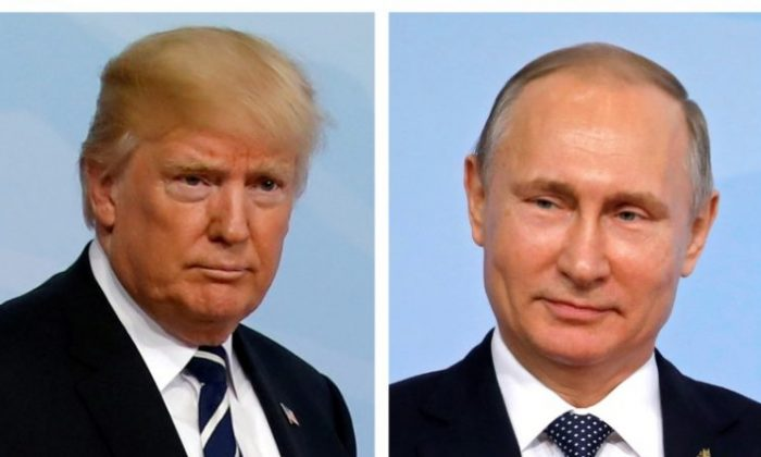 A combination of two photos shows U.S. President Donald Trump and Russian President Vladimir Putin as they arrive for the G20 leaders summit in Hamburg, Germany, July 7, 2017. (REUTERS/Carlos Barria/File Photo)