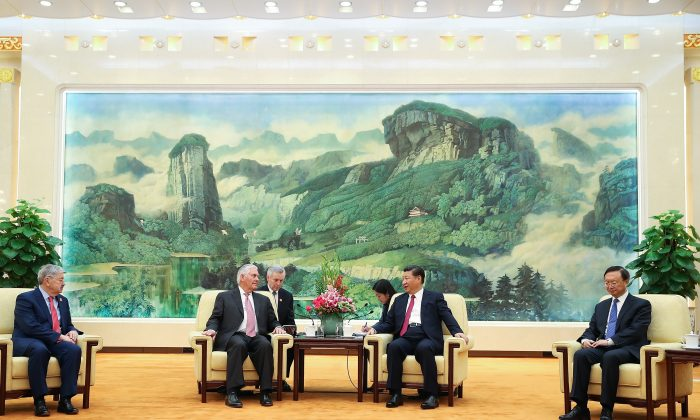 U.S. Secretary of State Rex Tillerson (L) meeting with Chinese leader Xi Jinping  at the Great Hall of the People in Beijing, China on Sept. 30, 2017. (Lintao Zhang/Pool/Getty Images)