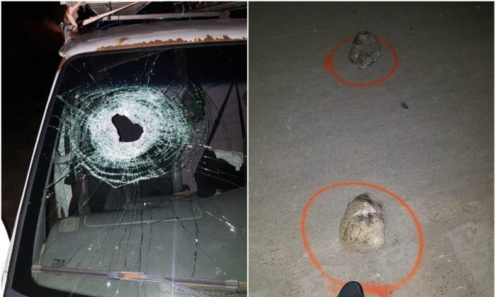 L: A hole in the windshield of a vehicle driven by late Kenneth White on the I-75 in Vienna Township, Mich., on Oct. 18, 2017; R: Rocks found on I-75 in Vienna Township, Mich., on Oct. 18, 2017.