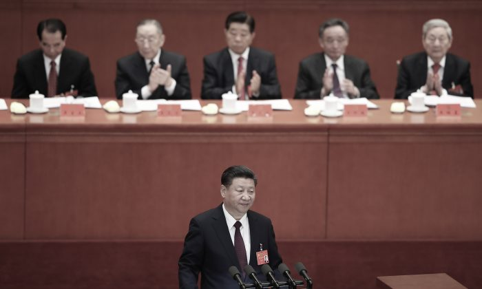 Chinese leader Xi Jinping at the opening session of the 19th National Congress in Beijing on Oct. 18, 2017. (Lintao Zhang/Getty Images)