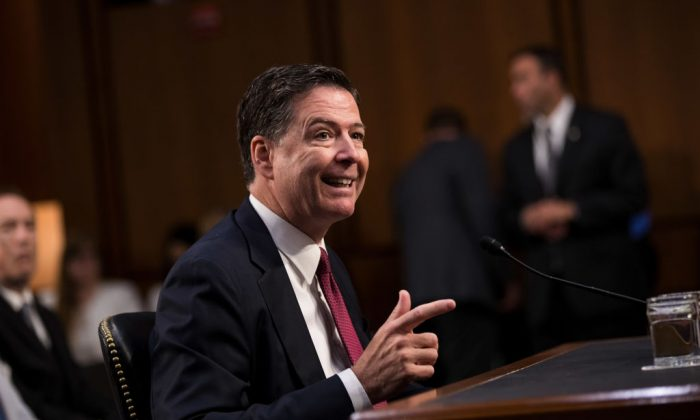 Former FBI Director James Comey testifies before the Senate Intelligence Committee in the Hart Senate Office Building on Capitol Hill in Washington on June 8, 2017. (Drew Angerer/Getty Images)