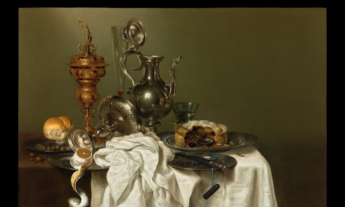 """""""A Still Life With a Fruit Pie,"""" 1644, by Willem Claesz. Heda (1594–1680). Oil on panel, 31.8 inches by 39.8 inches. One of the many paintings by old masters on display at TEFAF New York. (French & Company LLC)"""