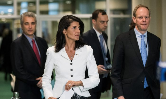 Former U.S. Ambassador to the United Nation Nikki Haley (C) arrives to speak to reporters at the United Nations headquarters, in New York City, on March 27, 2017. (Drew Angerer/Getty Images)