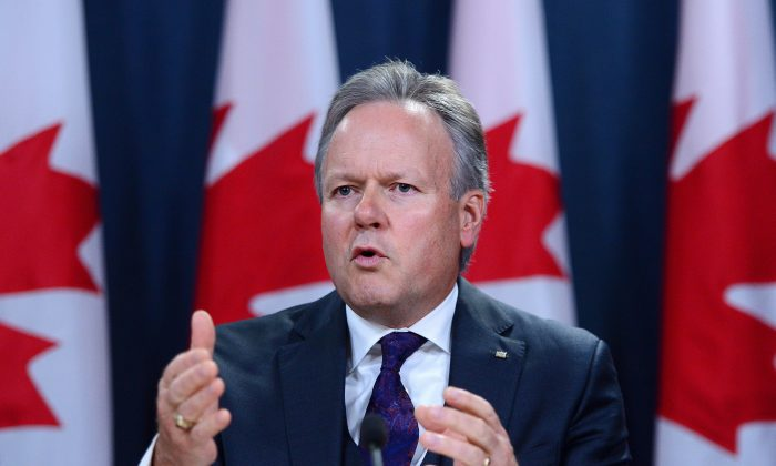 Governor of the Bank of Canada StephenPoloz holds a press conference in Ottawa on Oct. 25, 2017. The central bank took a more cautious stance and held its overnight rate target at 1 percent. (The Canadian Press/Sean Kilpatrick)