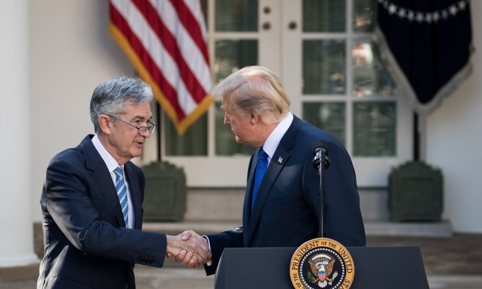 President Donald Trump shakes hands with his then nominee for chairman of the Federal Reserve, Jerome Powell, in the Rose Garden of the White House on Nov. 2., 2017. (Drew Angerer/Getty Images)