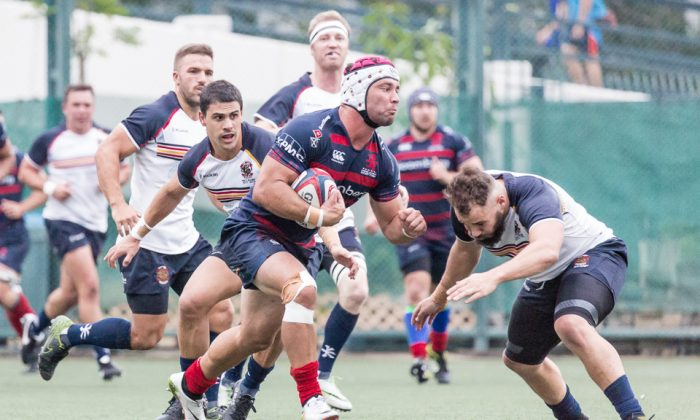 Bloomberg HK Scottish on the rampage in their 68-17 HKRU Premiership match win against Herbert Smith Freshhills HKCC at the Rock, Shek Kip Mei on Saturday Nov 4, 2017. (Dan Marchant)