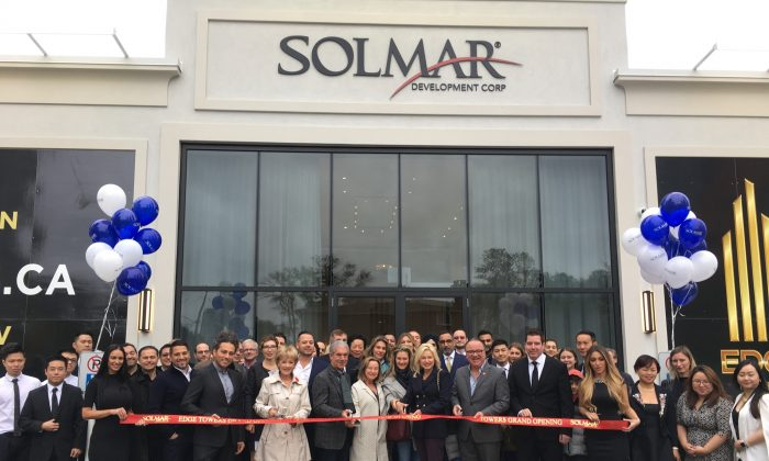 Ribbon cutting ceremony at the tower one launch. (Courtesy of Solmar Developments)