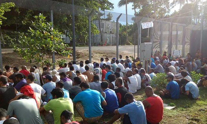 An undated image released Nov. 10, 2017 shows detainees staging a silent protest inside the compound at the Manus Island detention centre in Papua New Guinea. (Refugee Action Coalition/Handout via REUTERS)