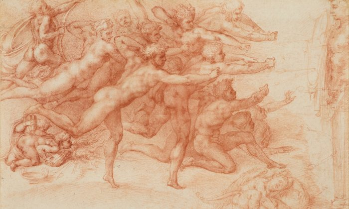 """""""Archers Shooting at a Herm,"""" 1530–33 by Michelangelo Buonarroti (Italian, Caprese 1475–1564 Rome). Drawing, red chalk. 8 5/8 inches by 12 11/16 inches.  (ROYAL COLLECTION TRUST/HER MAJESTY QUEEN ELIZABETH II 2017)"""