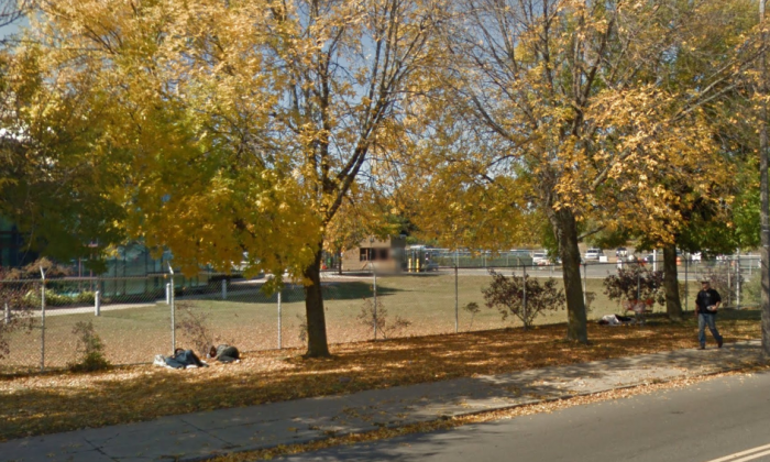 People sleep along the Massachusetts Ave. in Boston. (Screenshot via Google Street View)