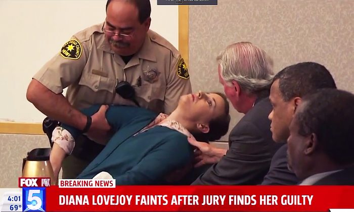 Diana Lovejoy falls back, shocked senseless by the guilty verdict in the murder-for-hire case against her. (Fox5 San Diego screen shot)