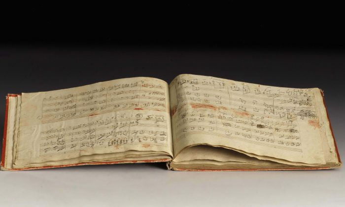 """Ludwig van Beethoven's autographed manuscript containing his own arrangement of """"The Grand Fugue"""" for piano in four hands, Op. 134. The 2005 discovery showed that Beethoven revised his works throughout his entire creative life. (Sotheby's; The Juilliard Manuscript Collection)"""