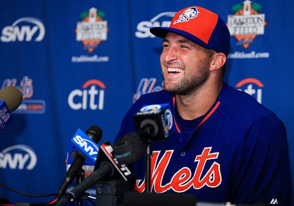 Tim Tebow at a press conference for The Mets at Port St. Lucie, Florida, in 2016. (Rob Foldy/Getty Images)