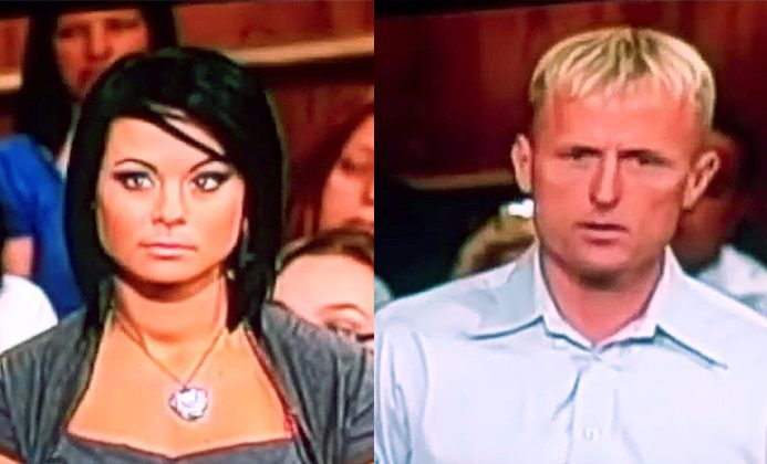 """Michelle Parker (left) and Dale Smith appear on """"The People's Court"""" televisions show on November 17, 2011. Parker disappeared a few hours after the show aired and has not been seen since. (Screenshot/The People's Court/YouTube)"""