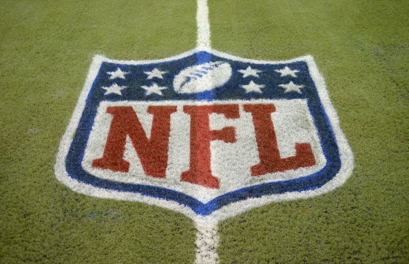 A detailed view of an NFL shield logo. (Mark Cunningham/Detroit Lions/Getty Images)