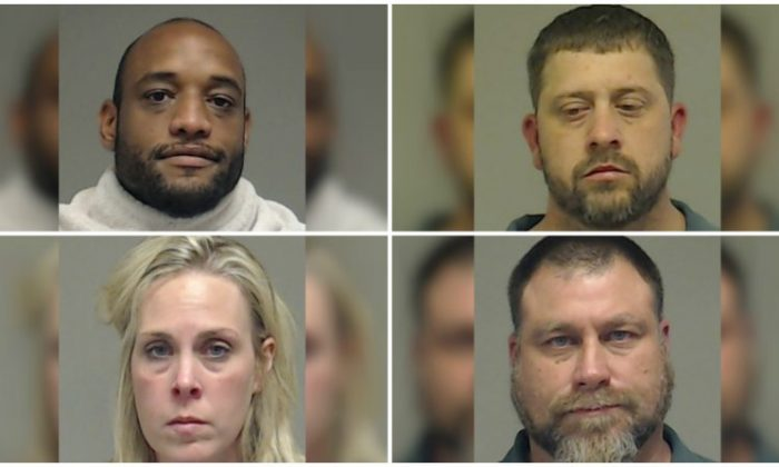 Charged with murder Delvin Ajair Powell (Top L), Robert Samuel Veal (Top R), Kadie Elizabeth Robinson (Bottom L), and Ronnie Keith Welborn (Bottom R). (Collin County Jail)