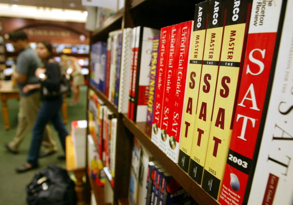 SAT test preparation books sit on a shelf at a Barnes and Noble store in New York City on June 27, 2002. (Mario Tama/Getty Images)