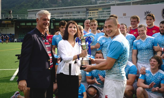 Russia receive the Hong Kong Cup of Nations winning all three matches in the 4 team seris in Hong Kong on Saturday Nov 18, 2017. (Dan Marchant