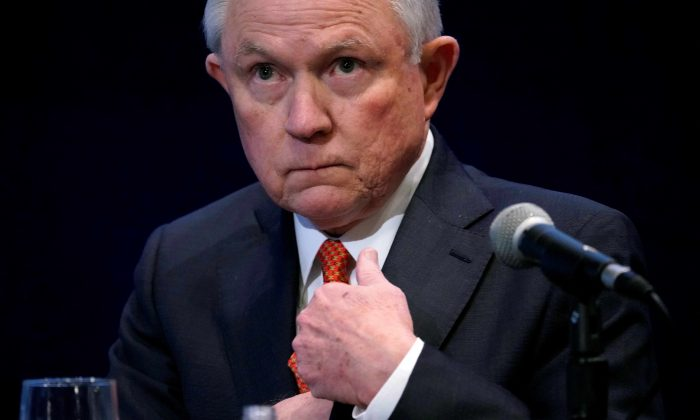 U.S. Attorney General Jeff Sessions waits to speak at the Federalist Society's 2017 National Lawyers Convention in Washington, U.S., November 17, 2017. (Reuters/Joshua Roberts)