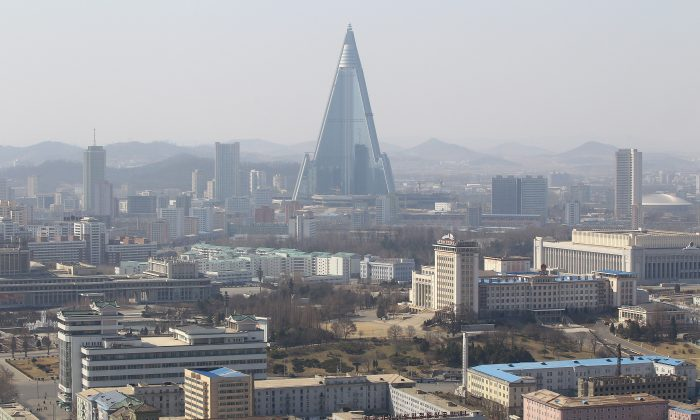 The Ryugyong Hotel in Pyongyang, North Korea, is seen on April 3, 2011. Pyongyang is the capital and only major city of North Korea. The Ryugyong Hotel has been under construction for thirty years. (Feng Li/Getty Images)