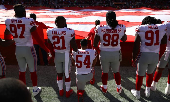 Olivier Vernon  No. 54 of the New York Giants kneels during the national anthem prior to their NFL game against the San Francisco 49ers at Levi's Stadium on Nov. 12, 2017, in Santa Clara, Calif.  (Ezra Shaw/Getty Images)