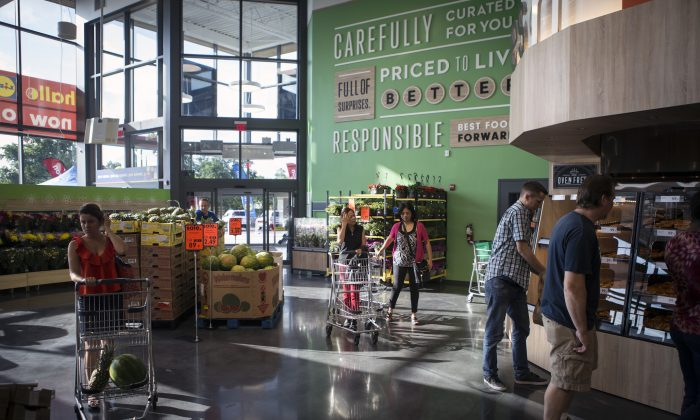 Customers shop at the Lidl's first US grocery store in Virginia Beach, Va., on June 18, 2017. (Chet Strange/Getty Images))