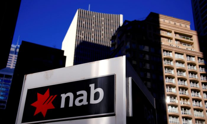 The logo of the National Australia Bank is displayed outside their headquarters building in central Sydney, Australia August 4, 2017. (Reuters/David Gray/File Photo)