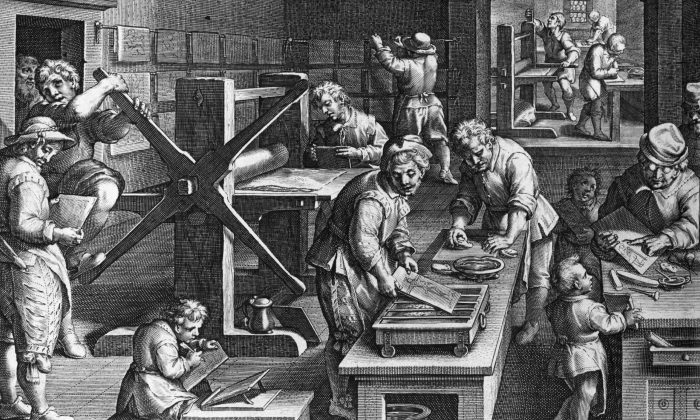 The art of engraving and printing from the prepared plates using a large press, at a print works, circa 1600. Original Artwork: Engraving by J Stradenus (1523 - 1605). (Hulton Archive/Getty Images)