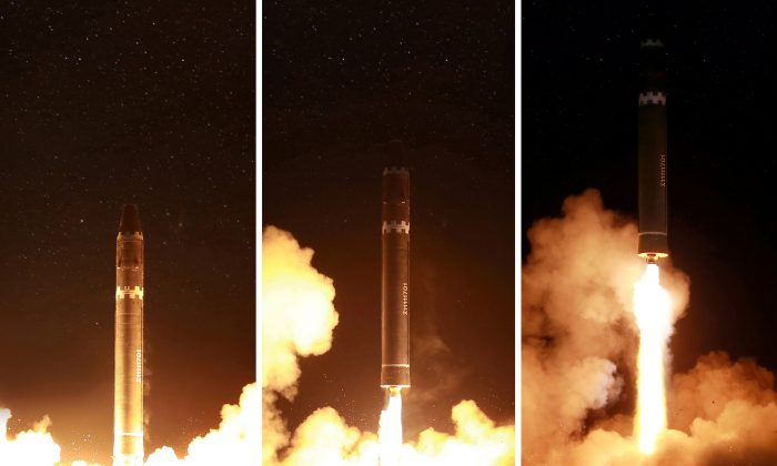 North Korea's Hwasong-15 ICBM launched on Nov. 28, 2017. North Korea claims the missile is capable of carrying a miniaturized nuclear warhead like the one it claims to have tested on Sept. 3.  (REUTERS/KCNA)