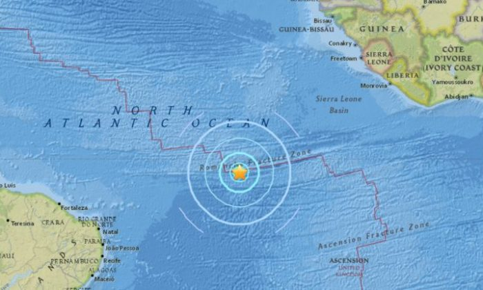 A 6.7 magnitude earthquake at the Mid-Atlantic Ridge on Thursday, Nov. 30, 2017. (U.S. Geological Survey)