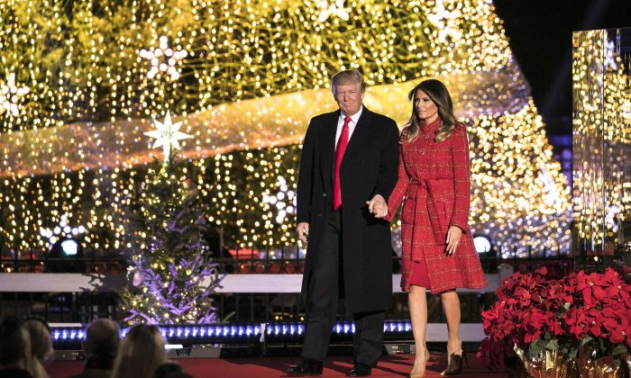 President Donald Trump and First Lady Melania Trump greet the audience at the 95th annual National Christmas Tree Lighting at the White House Ellipse in Washington on Nov. 30, 2017. (Samira Bouaou/The Epoch Times)