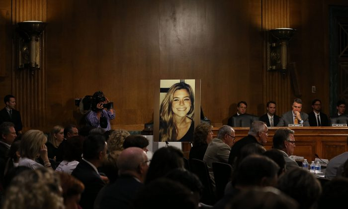 A photo of Kate Steinle is shown as her father Jim Steinle prepares to testify about her death during a Senate Judiciary Committee hearing on illegal immigration on Capitol Hill in Washington, on July 21, 2015. (Mark Wilson/Getty Images)