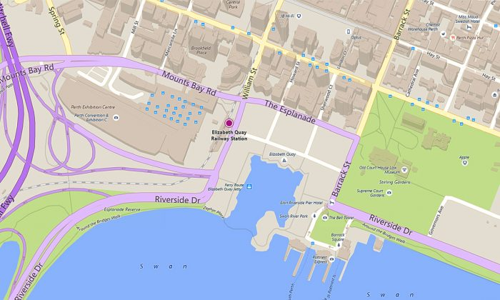 Perth Esplanade and Elizabeth Quay train station (Bing Maps screen shot)