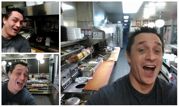 Some of the photos of South Carolina man Alex Bowen in the Waffle House kitchen that have gone viral. (Courtesy of Alex Bowen)