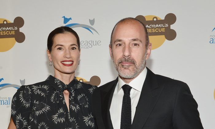 Annette Roque (L) and Matt Lauer attend the 2013 Animal League America Celebrity gala at The Waldorf Astoria in New York City on Nov. 22, 2013. (Mike Coppola/Getty Images)