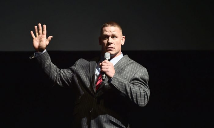 Professional wrestler John Cena speaks onstage at CinemaCon 2017.  (Photo by Alberto E. Rodriguez/Getty Images for CinemaCon)