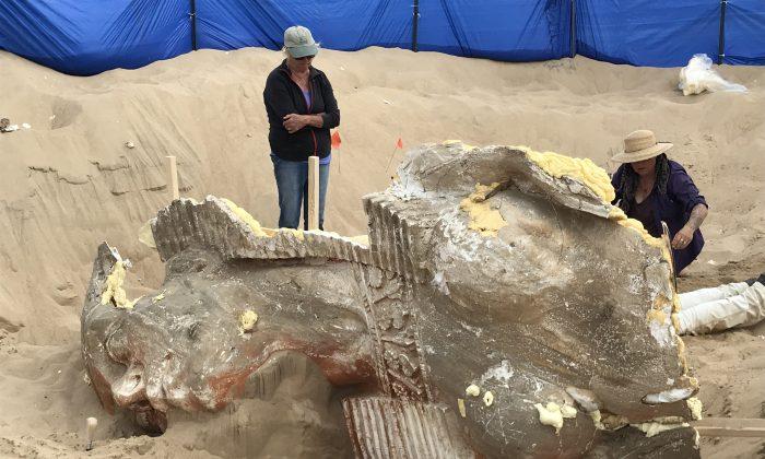 Excavation of a 1923 movie prop Sphinx statue in Guadalupe-Nipomo Dunes, Calif. (Dunes Center)