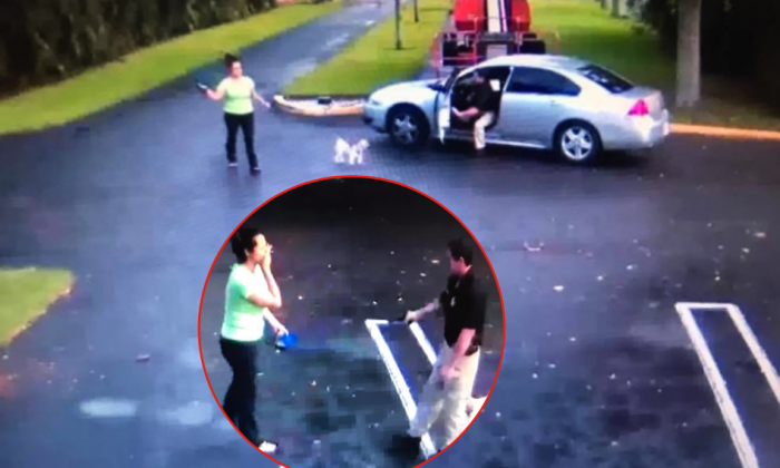 Surveillance video released by the Boynton Beach police department shows the shooting of Yuly Solano by her ex-boyfriend, Palm Beach County Sheriff's deputy Michael DeMarco on Oct. 12. (Boynton Beach Police Department)