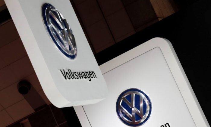FILE PHOTO: Volkswagen's logos are pictured at the 45th Tokyo Motor Show in Tokyo, Japan October 25, 2017. (Reuters/Kim Kyung-Hoon/File Photo)