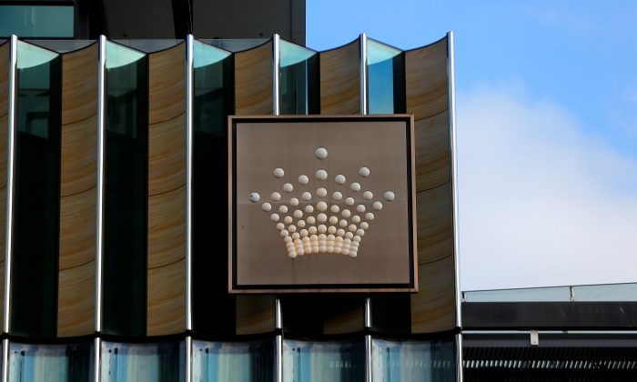 The logo of Australian casino giant Crown Resorts Ltd  in Melbourne, Australia, June 13, 2017.       (Jason Reed/Reuters)