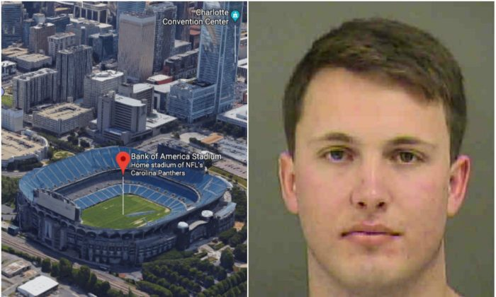 L: Bank of America Stadium in Charlotte, N.C. (Screenshot via Google Maps); R: Reed Fletcher. (Mecklenburg County Sheriff's Office)