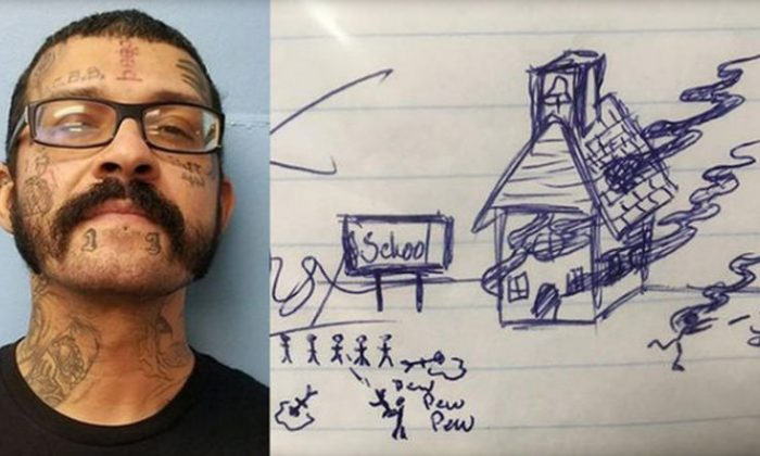 A Florida man was arrested last week for drawing what was believed to be threatening images on an elementary school student's homework.  (Gulf County Sheriff's Office)